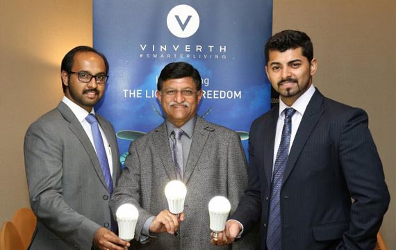 The Vinverth Team with Cherian Joseph, Sajan George and Dr. Noble Inasu at the Vinverth Press Conference launching the Flamber 9-Watt Bulb