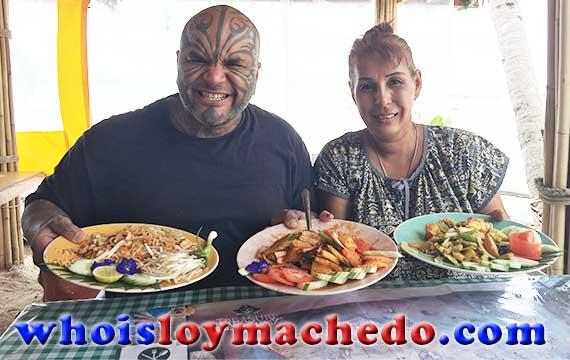 Loy Machedo Eating Thai Food in Koh Samui, Thailand